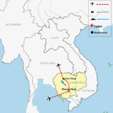 Phnom Penh & Siem Reap Tour 5 Days Map 700pix