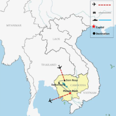 Siem Reap Battambang & Phnom Penh Package Tour 8 Days Map 700px