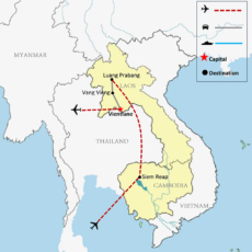 Cambodia & Laos Tour Package 9 Days Map 700pix