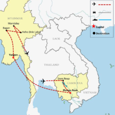 Cambodia & Myanmar Tour Package 15 Days - Map 1