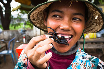 DGPDTF Cambodia, Woman eating fried tarantula spiders