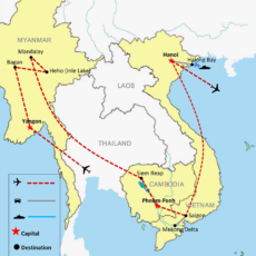 Myanmar, Cambodia & Vietnam Tour Package 20 Days - Map 01