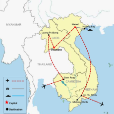 Cambodia, Laos & Vietnam Luxury Package Tour 18 Days - Map