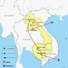 Cambodia & Laos Tour Package 15 Days - Map