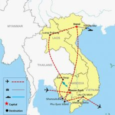 Map Indochina Vacation & Beach Tour 20 Days