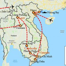 Asia Private Tour Vietnam Cambodia Laos & Myanmar 23 Days Itinerary Route (map)