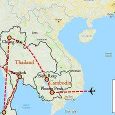 Best of Cambodia & Thailand Tour 2 Weeks Itinerary Route (map)