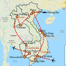 Best of Indochina Vietnam, Laos & Cambodia 3 Weeks Itinerary Route (map)