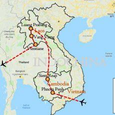 Cambodia & Laos Tour 10 Days Route map