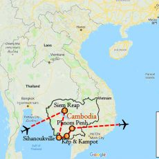 Cambodia Luxury Package Tour 15 Days Itinerary Route (map)
