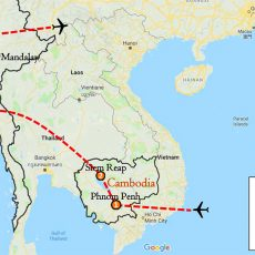 Cambodia & Myanmar Private Tour 15 Days Itinerary Route (map)