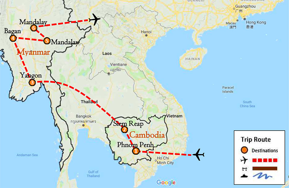 Cambodia Myanmar Private Tour 15 Days Itinerary Route