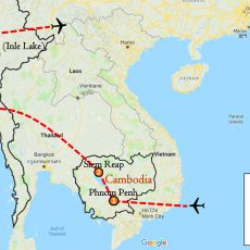 Cambodia & Myanmar Private Tour 2 Weeks Itinerary Route (map)