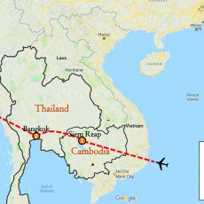 Cambodia & Thailand Tour 5 Days Itinerary Route (map)