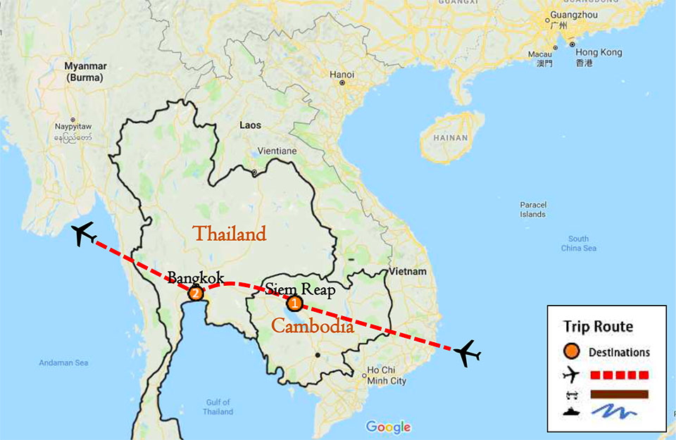 Cambodia Land Tour 5 Days Itinerary Route