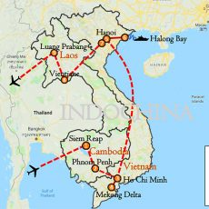 Cambodia, Vietnam & Laos Tour 18 Days Itinerary Route (map)
