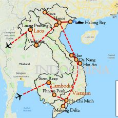 Cambodia, Vietnam & Laos Tour 23 Days Itinerary Route (map)