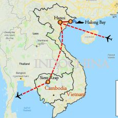 Cambodia & Vietnam Tour 8 Days (Siem Reap & Hanoi) Itinerary Route (map)