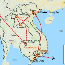 Myanmar, Cambodia, Laos & Vietnam Luxury Tour 25 Day Itinerary Route (map)