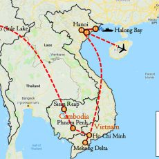 Myanmar, Cambodia & Vietnam Tour 20 Days Itinerary Route (map)