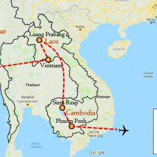 Myanmar, Laos & Cambodia 2 Weeks Itinerary Route (map)