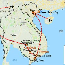 Private Tour Vietnam, Cambodia & Myanmar 19 Days Itinerary Route (map)