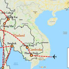 The Essential Cambodia, Myanmar & Thailand 23 Days Itinerary Route (map)