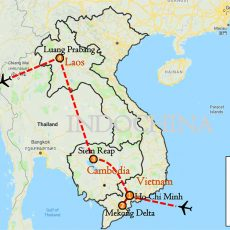Vietnam, Cambodia & Laos Tour 10 Days Itinerary Route (map)