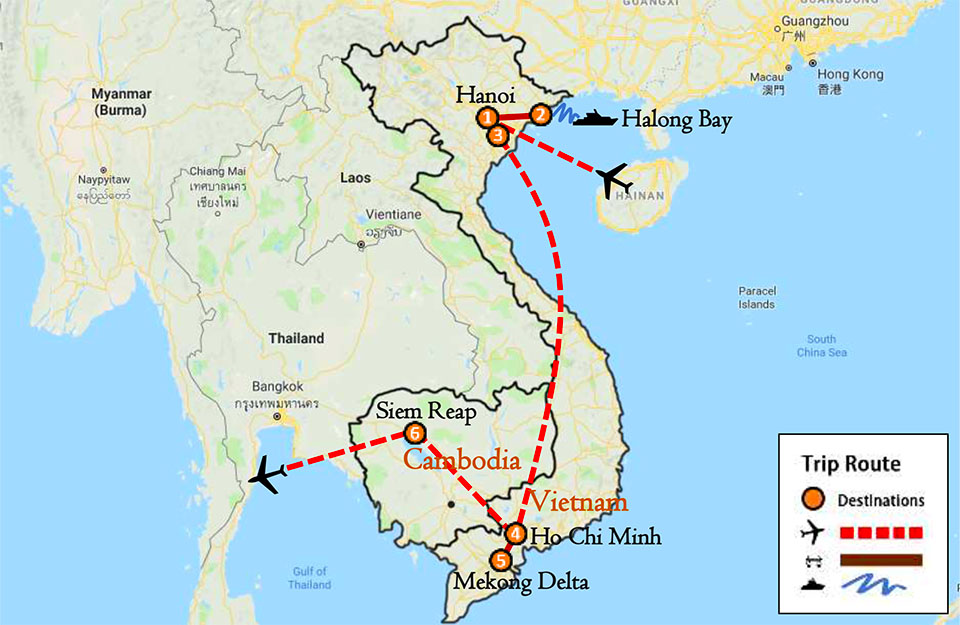 Vietnam Cambodia Tour Package 10 Days Itinerary Route