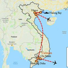 Vietnam Hanoi & Ho Chi Minh Tour 6 Days Itinerary Route (map)