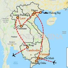 Vietnam, Laos & Cambodia Tour Package 2 Weeks Itinerary Route (map)