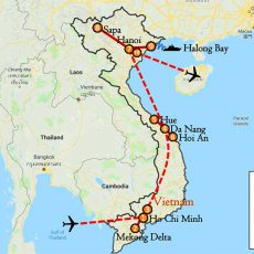 Vietnam Private Tour Package 13 Days (South, Central, Sapa & Hanoi) Itinerary Route (map)