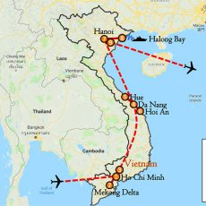 Vietnam Tour Package 10 Days (South, Central & North) Itinerary Route (map)