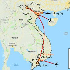Vietnam Tour Package 10 Days (South, Sapa & Hanoi) Itinerary Route (map)