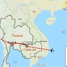 Cambodia & Thailand Tour 7 Days Itinerary Route (map)