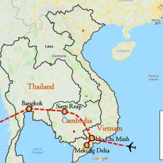 Vietnam, Cambodia & Thailand Tour Package 8 Days Itinerary Route (map)