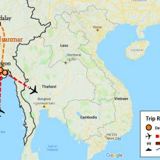 Best Myanmar Tour 7 Days Itinerary Route (map)