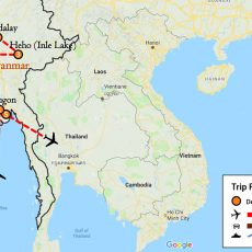 Essence of Myanmar Tour 9 Days Itinerary Route (map)