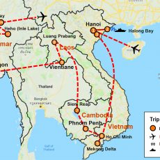 Vietnam Cambodia Laos & Myanmar 23 Days (map)