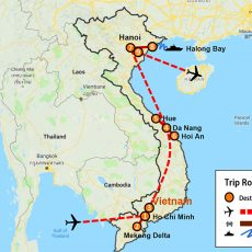 Vietnam Tour 10 Days (South, Central & North) - (map)